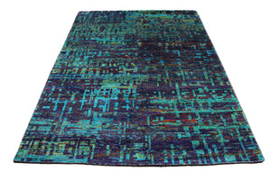 Purple & Teal Indian Sari Art Silk 6x8 One Of a Kind Handmade Rug 2861 - west of hudson