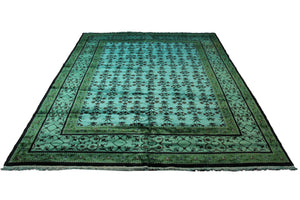 8x10 Overdyed Turquoise Green Floral Deco Wool Rug 2871 - west of hudson