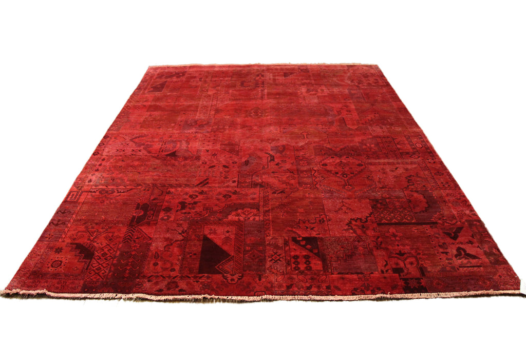 8x10 Patchwork Overdyed Brick Rust Red Rug Chobi 2876 - west of hudson