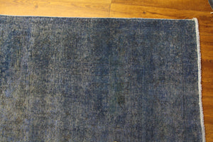 9x13 Vintage Oriental Rug Distressed Denim Blue 2877 - west of hudson