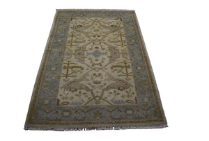 4x6 Handmade Beige 100% Wool Rug Aqua Gray Gold Mocha Turkish Ushak 2894 - west of hudson