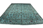 10×13 Overdyed Oriental Area Rug Teal Green Vintage Rug 2910 - west of hudson