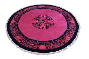 6x6 Overdyed Round Hot Pink Chinese Deco Rug 2912 - west of hudson
