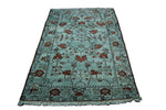 4x6 Oriental Area Rug Aqua Green Fair Condition 2915 Discounted Vintage Semi Antique - west of hudson