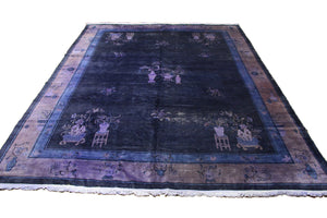 9×12 Overdyed Chinese Deco Purple Distressed Vintage Rug 2916 - west of hudson