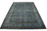 6x9 Blue Turkish Ushak Overdyed 100% Wool Rug 2920 - west of hudson