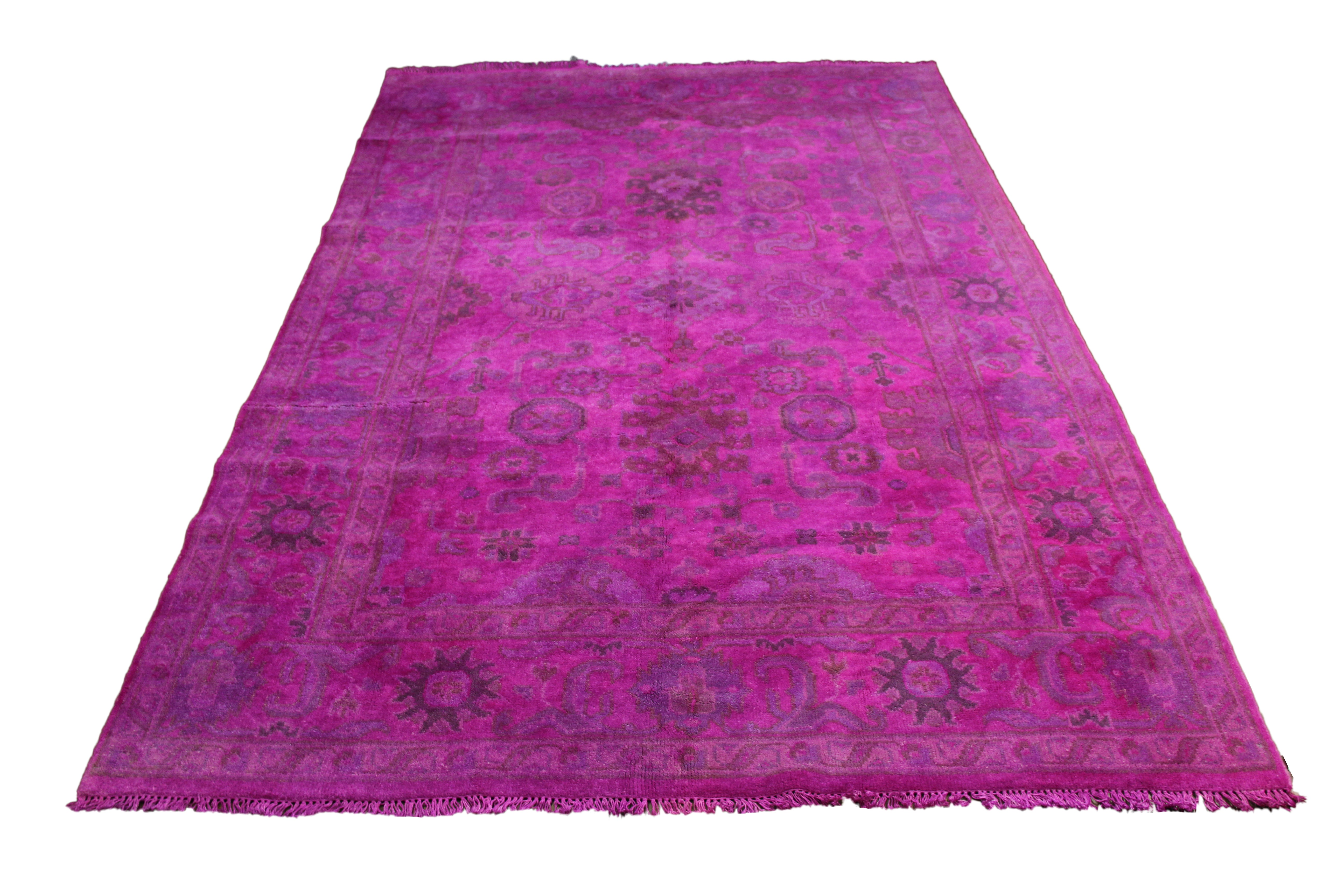 6×9 Hot Pink Rug Overdyed 2921