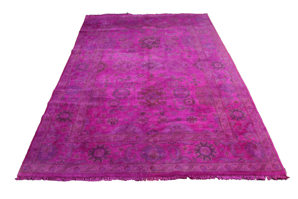 6×9 Hot Pink Rug Overdyed 2921 - west of hudson