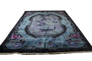 9x12 Overdyed Blue Purple Formal Floral Deco Wool Rug 2923 - west of hudson