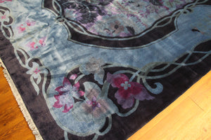 9x12 Overdyed Blue Purple Formal Floral Deco Wool Rug 2923 - westofhudson