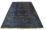 6x9 Blue Turkish Ushak Overdyed 100% Wool Rug 2924 - west of hudson