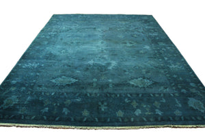 9x12 Turkish Ushak Design Aqua Overdyed 100% Wool Rug Handknotted 2927 - west of hudson