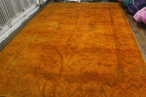 9x12 Orange Overdyed 100% Wool Pile Area Rug 2928 - west of hudson