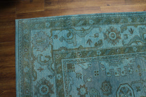 8x10 Aqua Teal 100% Wool Area Rug Turkish Ushak 2930 - west of hudson