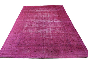 9x13 Hot Pink Distressed Authentic Vintage Oriental Area Rug  9x13 2931 - west of hudson