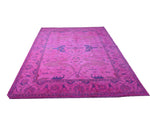 9x12 Ushak Overdyed Hot pink 100% Wool Oushak Rug 2932 - west of hudson