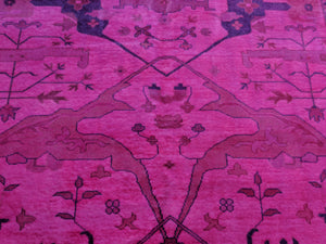 9x12 Ushak Overdyed Hot pink 100% Wool Oushak Rug 2933 - west of hudson