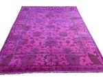 8x10 Overdyed Hot Pink Rug Turkish Ushak 100% Wool 2934 - west of hudson