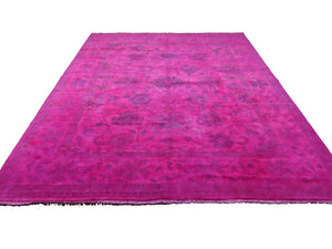 9x12 Ushak Overdyed Hot pink 100% Wool Oushak Rug 2937 - west of hudson