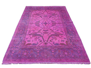 6x9 Overdyed Hot Pink Rug Turkish Ushak 100% Wool 2938 - west of hudson