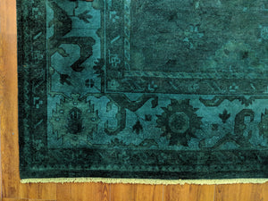 10x14 Forest Green Rug Turkish Handmade Overdyed Wool Pile 2940 - west of hudson
