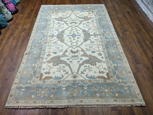 6x9 Handmade Beige 100% Wool Rug Blue Gray Turkish Ushak 2941 - west of hudson