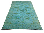 6x9 Overdyed Ushak Area Rug Teal Blue Aqua 100% Wool Pile 2944