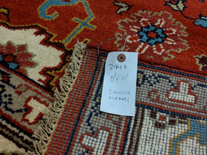8x10 Ziegler Mahal Area Rug Brick Red 100% Wool 2947