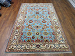5x8 Ziegler Mahal Area Rug Sky Blue 100% Wool Pile Hand-Knotted 2950