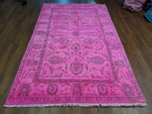 5x8 Overdyed Hot Pink Turkish Ushak 100% Wool Pile Rug 2954