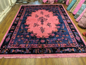 9x12 Overdyed Pink Formal Floral Deco Wool Rug 2956