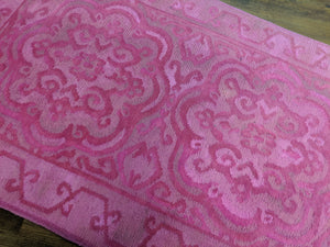 3x5 Overdyed Pink Rug Mixed Weave 100% Wool Tribal 2957