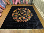 8×10 Fine Wool Art Deco Floral Medallion Wool Rug Midnight Navy 2958