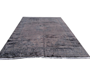 10x13 Authentic Vintage Over-Dyed Charcoal Gray Rug 100% Wool 2961