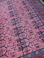 9x12 Pink Rug Overdyed Chinese Art Deco 100% Handspun Wool 2962