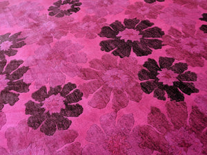 5x8 Overdyed Pink Floral 100% Wool Rug 2964