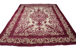 10x12 Vintage Distressed Rug Fuchsia 100% Wool Low Pile Worn Out 2907 - west of hudson
