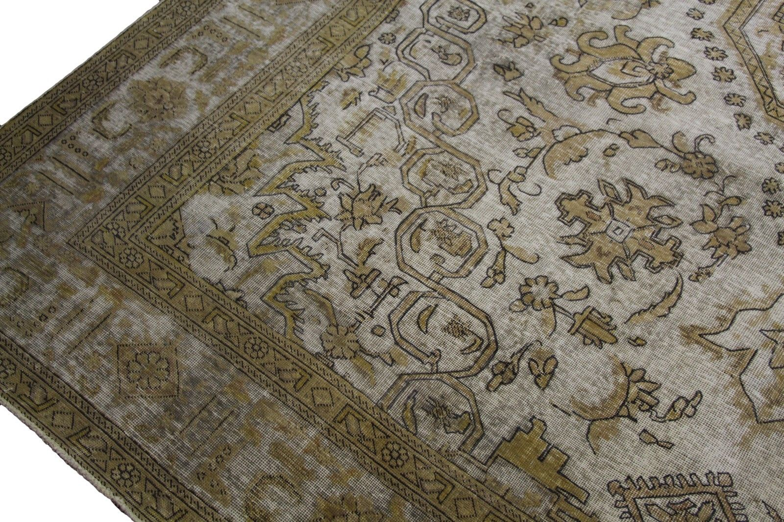 10x13 Distressed Vintage Beige Rug Low Wool Pile OOAK Worn Out Look 2906 - west of hudson