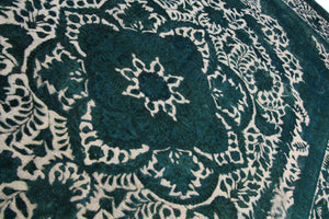 9x12 Distressed Vintage Emerald Low 100% Wool Pile Dining Room Rug 2905 - west of hudson
