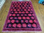 6x9 Luxury Rug Chinese Deco Design OOAK Navy Pink 100% Wool Pile 2936 - west of hudson