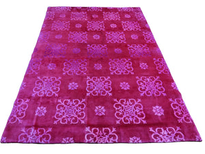 6x9 Overdyed Hot Pink Raspberry Wool Silk Rug 2662 - west of hudson