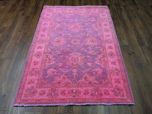 4x6 Peshawar Hot Pink Lavender Rug Over-Dyed Handknotted Wool 2959