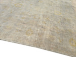 14x14 Upscale Hand-Knotted Light Gray Overdyed 100% Hand-Spun Wool Rug Square