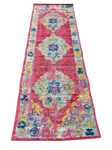 5x8 Colorful Oriental Medallion Rug Fuchsia - Essex - Indoor / Outdoor