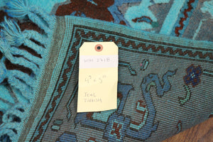 4x6 Overdyed Teal Rug Turkish Wool Pile 2718 - west of hudson