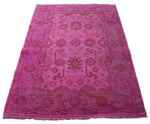 4x6 Hot Pink Rug Fuchsia Ushak Over-Dyed Handknotted Wool 2766 - west of hudson