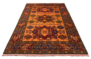 6x9 Caucasian Kazak Orange Geometric Overdyed Handknotted Rug 2770 - west of hudson
