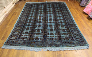 7x9 Turkoman Bokhara Teal Overdyed Vintage Handknotted Rug 2777 - west of hudson
