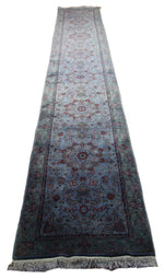 3x16 Denim Floral Area Rug Runner Overdyed Wool Rug 2778 - west of hudson