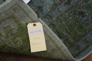 4x6 Emerald Peridot Green Over-Dyed Handknotted Wool Rug 2779 - westofhudson